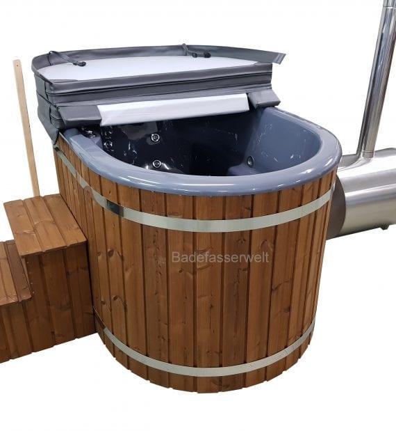 badetonne oval mit fiberglaseinsatz mit whirlpool f r 2 personen. Black Bedroom Furniture Sets. Home Design Ideas